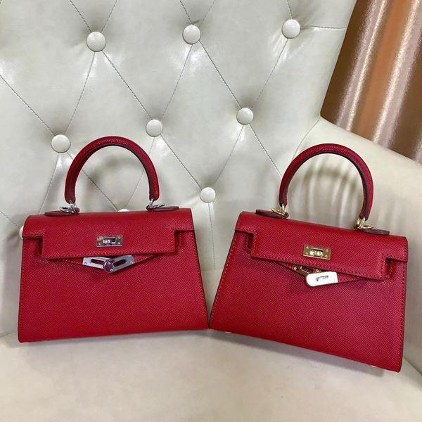 Red 22 CM Mini Marca Mulheres Totes Genuíno sacos de couro Bolsa de Ombro Com Hardware de Prata de Ouro Cachecol Moda Bolsa atacado de Alta Qualidade