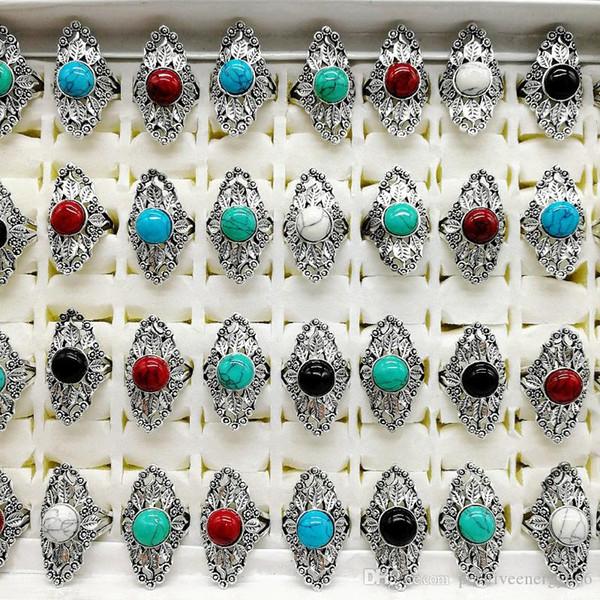 Rétro Femmes plaqué or énorme Turquoise Bague Anniversaire De Mariage Cadeau Bijoux