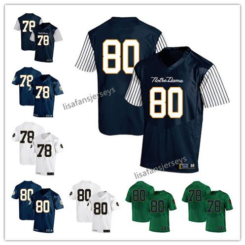 Mens Notre Dame Fighting Irish Jerseys 78 Ronnie Stanley 80 Durham Smythe 2019 Navy White Green USA Flag College Football NCAA Jersey