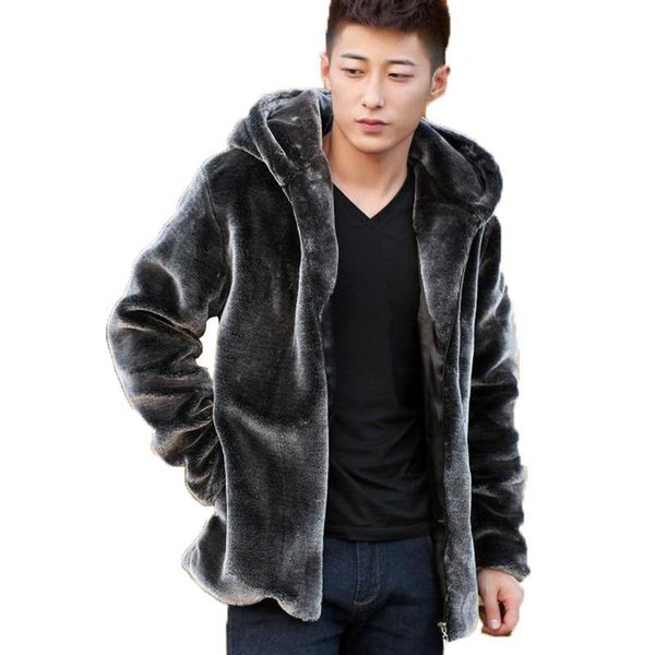 Wholesale- Suede Leather Jacket For Men Hooded Winter Spring Mens Faux Mink Coat Youth Motorcycle Biker Mens Faux Fur Coats Brand Nice