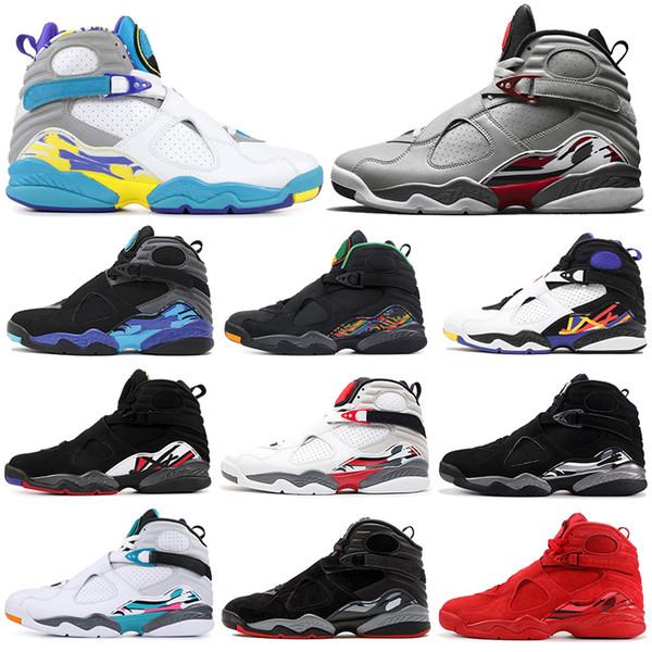 Bugs réfléchissants Bunny 8 8s Hommes Chaussures de Basketball Saint Valentin Aqua Blanc Noir Chrome 3PEAT PLAYOFF Hommes Entraîneur Sports Sneaker 7-13