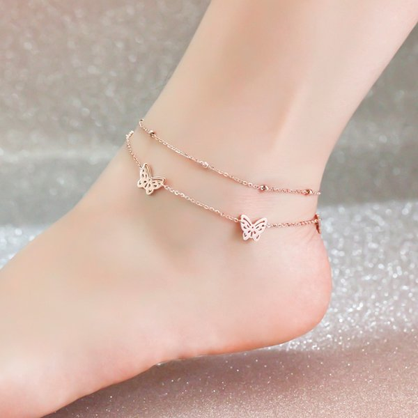 18KGP Rose Gold Color Titanium Steel Butterfly 2-layer Anklet Women Fashion 316L Stainless Steel Jewelry (GA107)