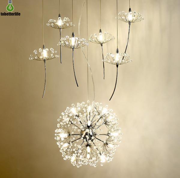 Europe Crystal Chandelier Dandelion 21LED 33LED Escaleras Droplight Lámpara colgante para restaurante Sala de estar con control remoto