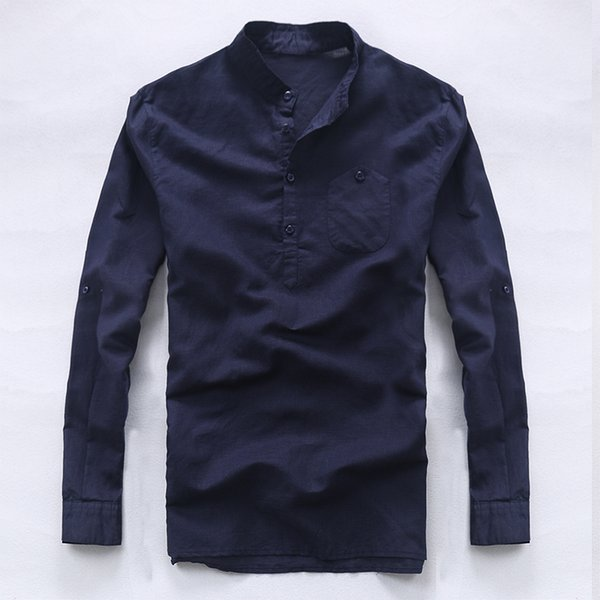 Italy brand long sleeve shirts men linen pure men shirt casual fashion shirt mens business flax shirts male loose camisa chemise