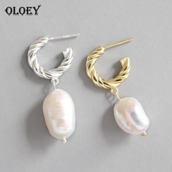 Oloey Freshwater Baroque Pearl Drop Earrings For Women Wedding Dangle Twist Circle Earrings Luxury Fine Party Jewelry Yme428 MX190713
