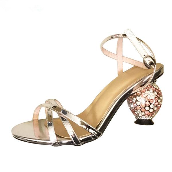 meililin / Crystal ball high heel sandals women new cross ankle belt runway shoes women pumps strange style heel party shoes 2019