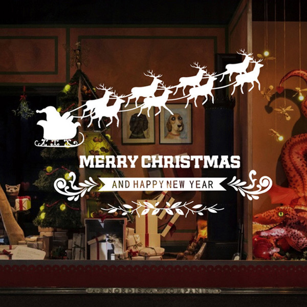 3D Elk Santa Claus Wall Sticker Merry Christmas Home Decor Shop Window Glass Poster Festival Christmas Decoration PVC Art Mural