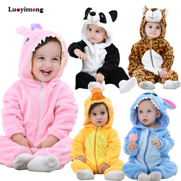 Winter Infant Romper Baby Boys Girls Jumpsuit Newborn Stitch Clothing Hooded Toddler Baby Clothes Overalls Cute Panda Costumes J190524