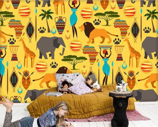 Custom Size 3d Photo Wallpaper Kids Room Mural Cartoon African Logo Pattern 3d Picture Sofa Tv Backdrop Wallpaper Non Woven Sticker Thanksgiving