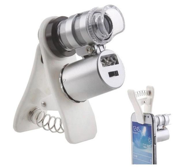 100set 60x Zoom LED Mini 60 fois grossissement microscope verre optique monnaie universelle mobile détection Microsc avec clip