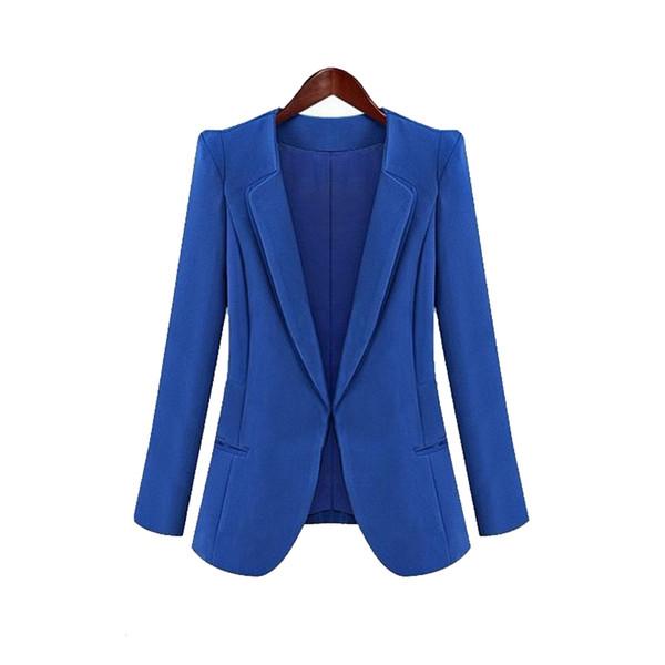 Recién nuevo Primavera Otoño Mujeres Slim Blazer Coat Moda Casual Chaqueta Traje de manga larga Blazers Work Wear FDM