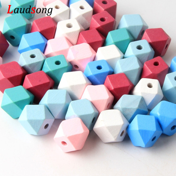 for jewelry 12mm 14mm Wooden 50pcs/lot Mix Color Polygon Wood Beads for Jewelry Making DIY Pacifier Clip Attachment