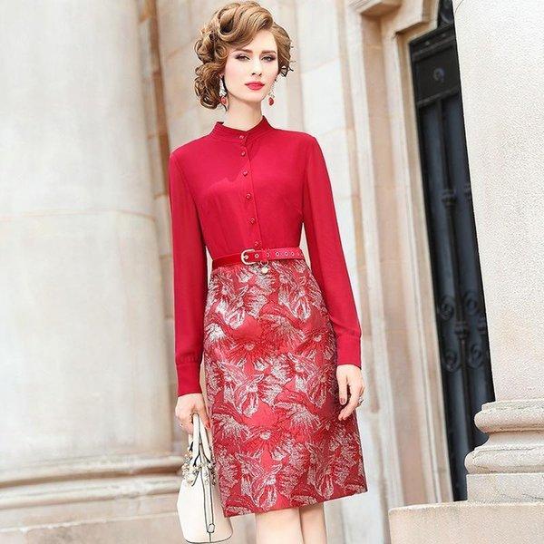 Office Lady Shirt Dress Spring Nizza Nuove donne di qualità superiore vestito da partito di rappezzatura inverno vintage abiti lunghezza matita al ginocchio