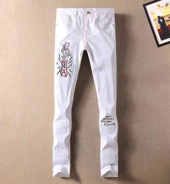 Homens marca de luxo guccy de jeans local selvagem calças bordados novas calças estilo locomotiva oficiais Rua hip hop explosão calças de vaqueiro