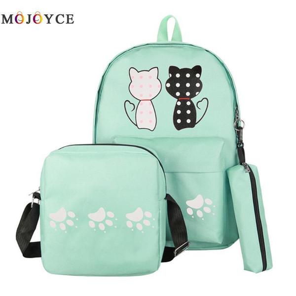 6c8fec410b 3 Pcs/set Women Backpack Cat Printing Canvas School Bags For Teenager Girls  Preppy Style