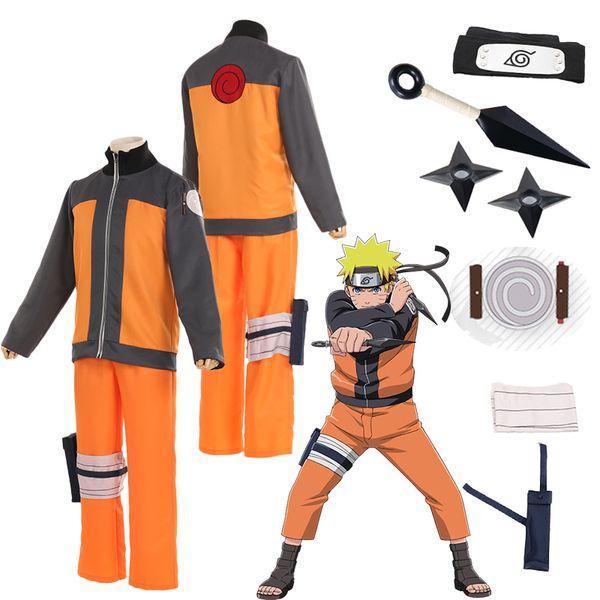 Unisex Cosplay Japanese Anime Naruto Uzumaki Shippuden Hokage Halloween Party Show Costume Uniform Full Set Suit Outfit