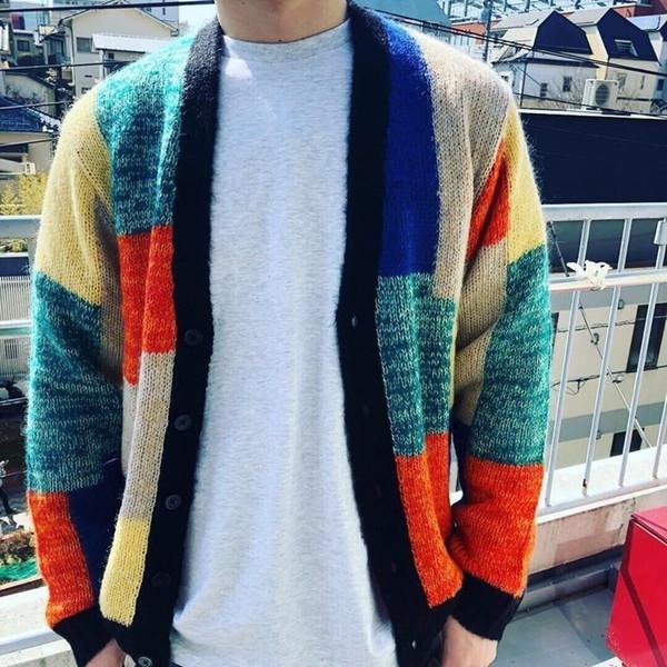 top popular 19SS Patchwork Mohair Cardigan SWEATER Stitching Sweater Fashion Men Women Couple Coat High Quality Coat HFWPJK129 2019