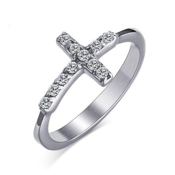 Pode Misturar Ordem Cor Prata Moda Simples Lady Gemstone Zircon Cruz Anel de Aço Inoxidável Anéis Presente Da Jóia para As Mulheres Homens J220