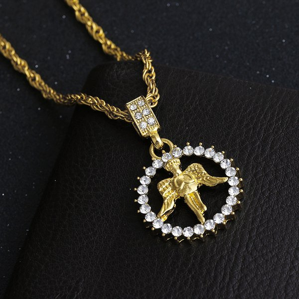 European and American New Hip Hop Boy Angel Pendant Popular Personality Men Gold Plated Wing Necklace