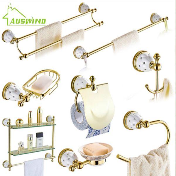 Stars & Crystal Bathroom Accessories Sets Solid Brass Gold Hardware Wall Mounted Bathroom Hardware Set Q55 SH190919