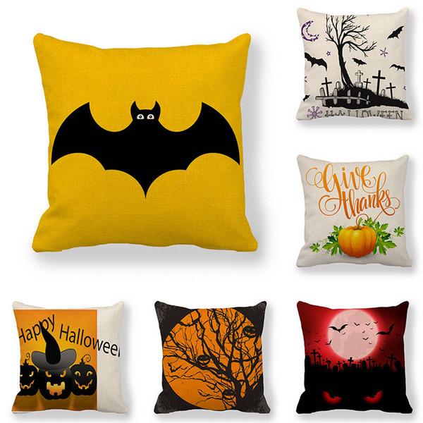 45 cm * 45 cm capa de Almofada Halloween morcegos e aranhas design de linho / algodão capa almofada sofá e casa decorativa travesseiro