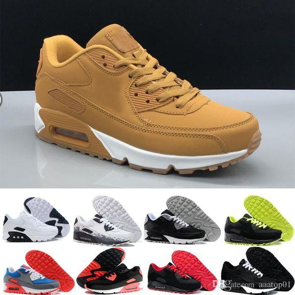 nike air max 90 90s airmax Hombres zapatillas de deporte zapatos de hombres clásico y mujer calzado deportivo entrenador del amortiguador de aire de la superfi