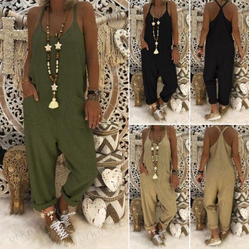 Femmes Coton Combinaison En Lin Combinaison Sangle Barboteuses Salopette Pantalon Lâche Combinaisons Poches Solides Longues Dames Occasionnels Bodys