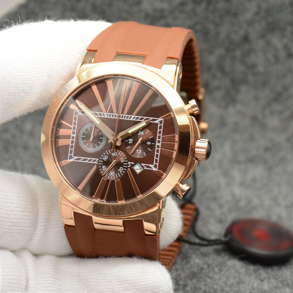 masculine men watch marine ceramic bezel brown dial chronograph quartz battery executive dual time rubber strap wristwatches mens watches, Slivery;brown