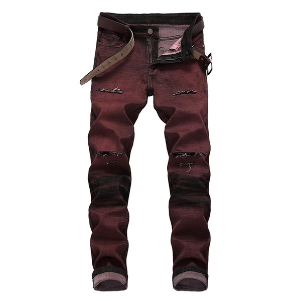 Fashion Mens Designer Jeans Hip Hop Distressed Zipper Jeans Casual Luxury Mens Ripped Denim Pants Red Size 28-42