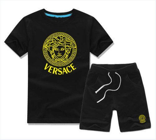 SıCAK tasarımcı marka Bebek Erkek Kız Yaz Elbise Bebek Spor Suit 2 Adet Set boy Çocuk Setleri Çocuklar T-shirt Ve Pantolon Ço ...