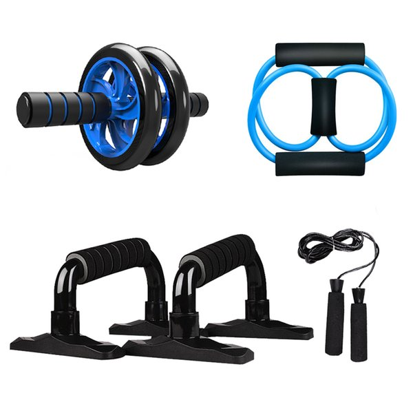 5-in-1 ab wheel roller kit spring exerciser abdominal press wheel pro with push-up bar jump rope and knee pad portable equipment