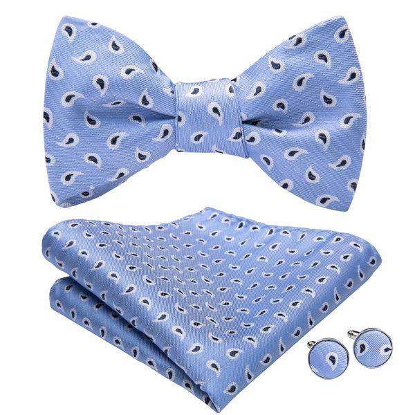 Hi-Tie Mens Classic Bow Tie With Handkerchief Cufflinks Blue Black Dot For Mens Wedding Business Party AL-071