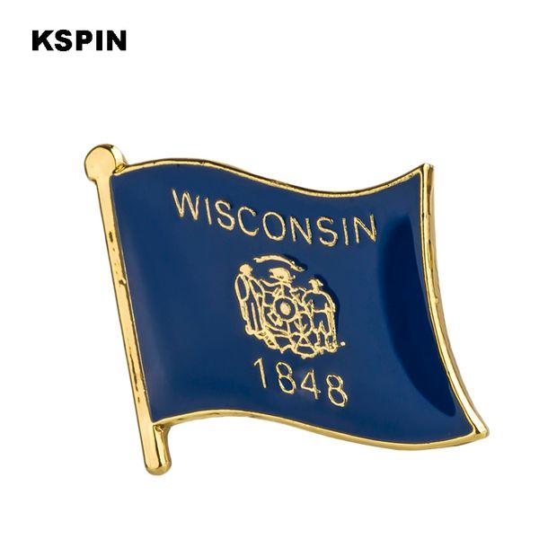Флаг США Висконсин Значки с отворотами флага Значки с отворотами Значки брошь XY0232