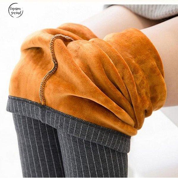 Kadınlar Çizgili Baskılı Sıcak Kalem Pantolon Kış Kalınlaşmak fleeces Tozluklar Moda Boot Cut Pantolon P8126 için Pantolon