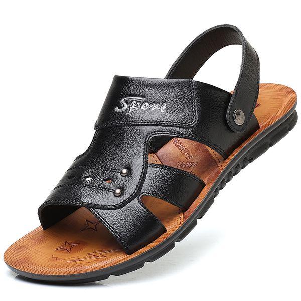 Qwedf 2019 verão big size dos homens sandálias britânicas moda genuína couro sapatos de praia dos homens casuais massagem não-slip sy-71