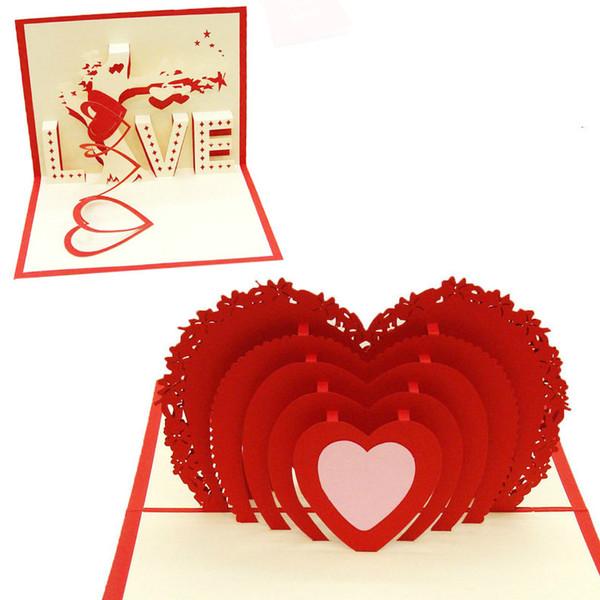 3D Aşk Pop Up Düğün Davetiye Nişan Yıldönümü Sevgililer Günü Kartları El yapımı Noel Tebrik Kartı