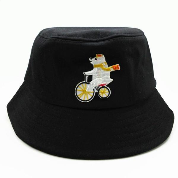 2020 nouveau style de broderie d'ours Cartoon Chapeau chapeau de pêcheur Voyage extérieur Sun Cap chapeaux pour les hommes et les femmes 363