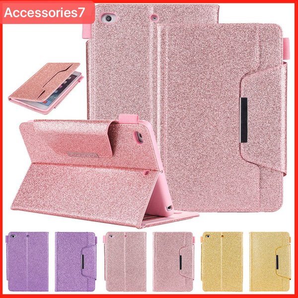 Luxury Glitter Bling Magnetic Flip Wake/Sleep Leather Wallet Card Stand Holder Shockproof Case Cover For Apple iPad 5 6 Air 2 Mini 2 3 4 Pro