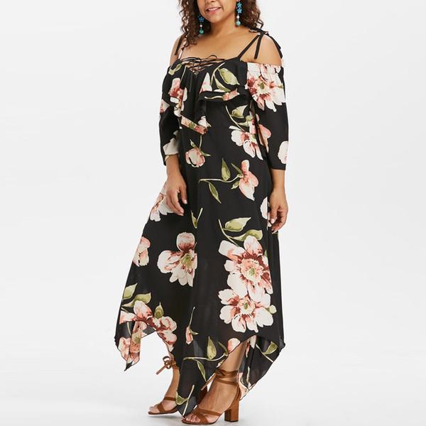 Fashion Vrouwen Off Shoulder Jurk Plus Size dames Lace Up Maxi Vloeiende Bloemenprint Jurk strap schouder onregelmatige lange jurk