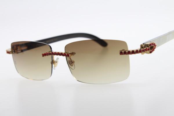Hot Rimless 3524012 Red diamond White Inside Black Buffalo Horn glasses Men Red stone Unisex Glasses Brown