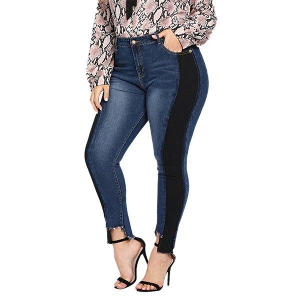 Nouveaux vêtements 2019 femmes élastique plus la taille Denim Pocket Button Casual Boot Cut Pant Jeans Drop Shipping