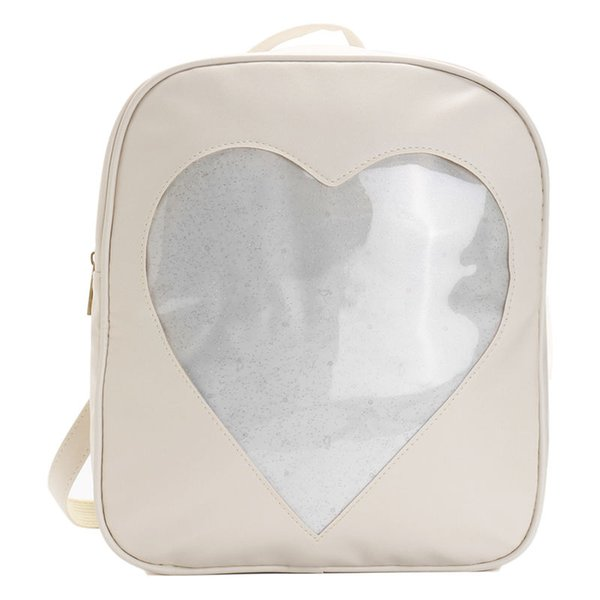 Women Girls Backpack Clear Heart Shaped Front Bag Schoolbag Travel Bag Stylish