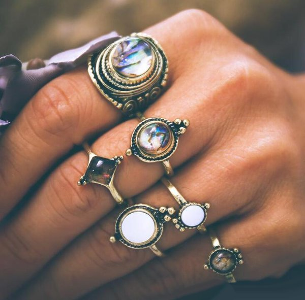 6 Pçs / set Mujer Anéis De Dedo De Cristal Knuckle Midi Conjuntos de Jóias Boho Para As Mulheres
