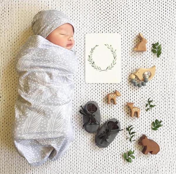best selling Infant Baby Swaddle Sleeping Bags Baby Boys Girls Leaves Muslin Sleeping Bag + Hat Baby Soft Cocoon Sleep Sack 2pcs Set
