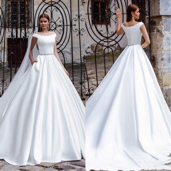 New Arrival Off Shoulder Ball Stain Wedding Dresses 2019 Simple Elegant Sash Court Train Bridal Gowns Custom Made Formal Dress Gown Australia 2020