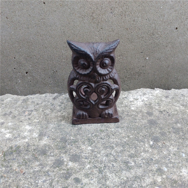 4 Pieces Vintage Cast Iron Tea Light Holder Metal Owl Candle Holder Home Garden Porch Courtyard Yard Decor Brown Candle Stand Table Retro