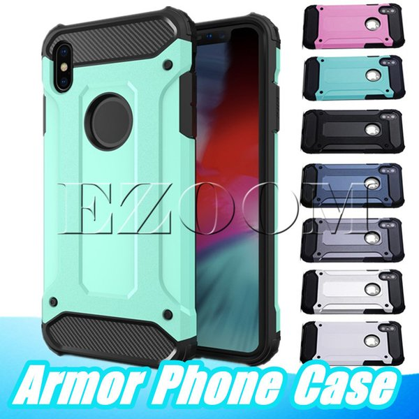 2 in 1 PC Armor Case For Samsung S10 5G Plus Note 10 Pro A70 A50 A60 M20 M30 J4 A8 A9 HUAWEI Y7 Y6 2019 P30 Lite iPhone XR XS MAX X