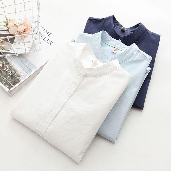 Camice Oxford delle donne blu bianche a maniche lunghe Più taglie 2018 Camicetta da ufficio donna casual Casual Tute da donna di alta qualità
