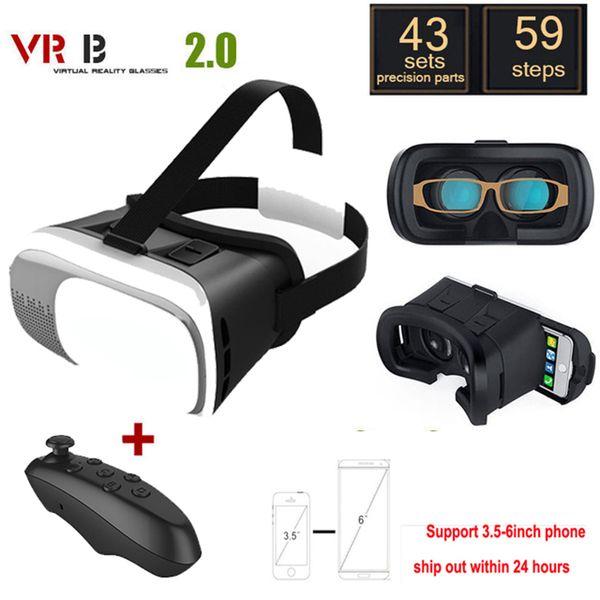 Vr 2.0 óculos de vidro google papelão de realidade virtual 3d vr smartphone + bluetooth gamepad para iphone xiaomi 3.5-6.0 polegada