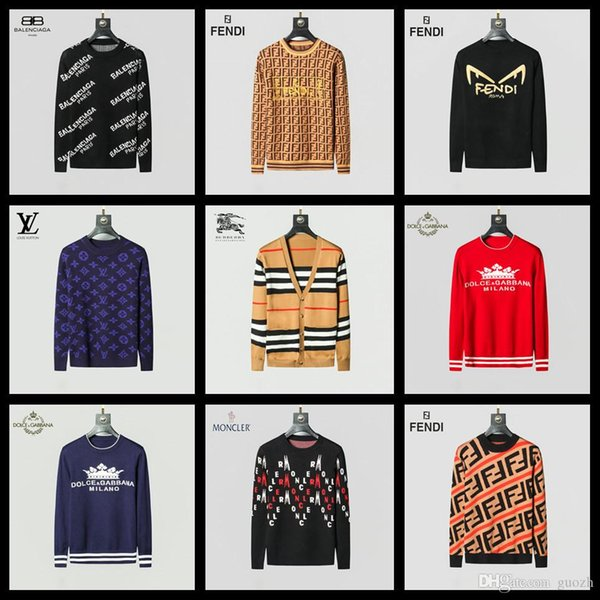 2019 marque de luxe classique Bureau de la mode Gentleman coréenne chandail tricot chandail 100% homme pull en coton rose Fleurs M-3XL